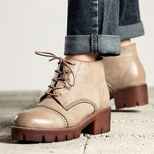 MIAOLV - Brogue Lace Up Chunky Heel Ankle Boots