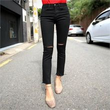QNIGIRLS - Slit-Trim Straight-Cut Pants