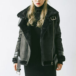 chuu - Funnel-Neck Faux-Shearling Biker Jacket