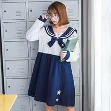 Angel Love - Star Embroidered Sailor Collar Long Sleeve Dress