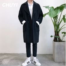 Chuoku - Notch Lapel Snap Button Coat