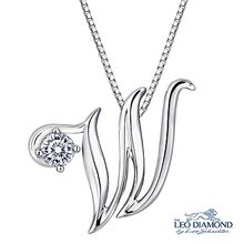Leo Diamond - Initial Love 18K White Gold Diamond Pendant Necklace (16') - 'W'