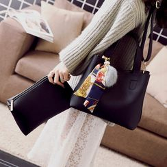 Q.BAISE - Set: Faux Leather Tote Bag + Crossbody Bag