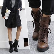 Reneve - Lace-Up Buckled Boots