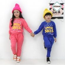 nanakids - Kids Set: Lettering Brushed-Fleece Lined Sweatshirt + Sweatpants