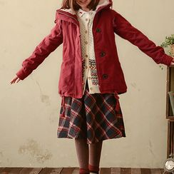 Angel Love - Hooded Fleece-Lined Buttoned Jacket