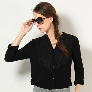 59 Seconds - Split Neck Long-Sleeved Blouse