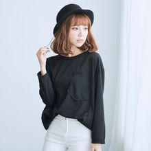 BAIMOMO - Long-Sleeve Pocket-Accent Top