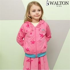 WALTON kids - Kids Set: Contrast-Trim Star-Pattern Hoodie + Inset Skirt Leggings