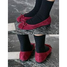 FROMBEGINNING - Genuine Suede Ribbon Flats