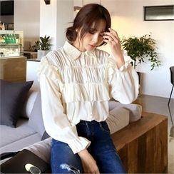 QNIGIRLS - Frill-Trim Shirred Blouse