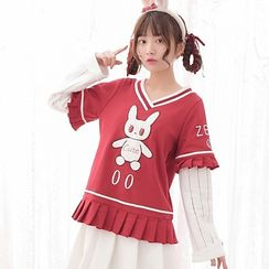 Moriville - Rabbit Embroidered Striped Panel Pullover