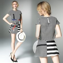 Y:Q - Set: Pinstriped Panel Short-Sleeve Top + Skirt