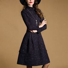 Purple Rose - Long-Sleeve Tweed Dress