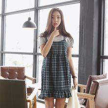 Envy Look - Spaghetti-Strap Check Mini Dress