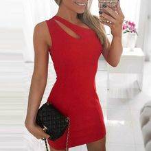 LIVA GIRL - Cutout One Shoulder Sheath Minidress
