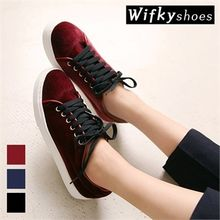 Wifky - Velvet Lace-Up Sneakers