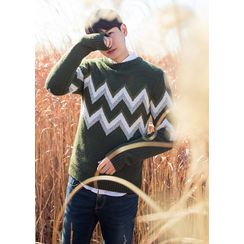 GERIO - Round-Neck Patterned Sweater