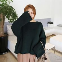 QNIGIRLS - Round-Neck Long-Sleeve Knit Top