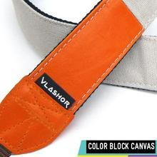 Vlashor - Orange PU + White Canvas DSLR Strap