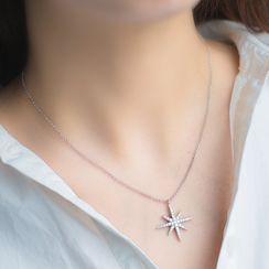 A'ROCH - 925 Sterling Silver Thong Sandals Snowflake Necklace