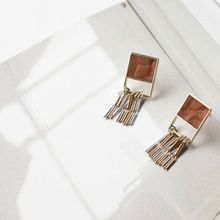 NIPONJJUYA - Chain-Fringed Square Earrings