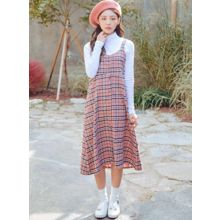 icecream12 - Plaid High-Waist Jumper Dress