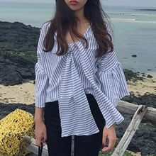 Cloud Nine - 3/4-Sleeve Bow Striped Shirt