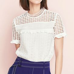 Sentubila - Short-Sleeve Lace Top