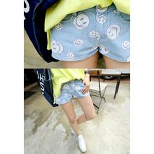 REDOPIN - Denim Smile Print Shorts