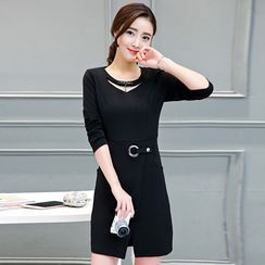 lilygirl - Slit-Front Long-Sleeve Sheath Dress