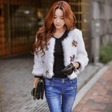 Dabuwawa - 3/4-Sleeve Paneled Furry Cropped Jacket
