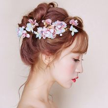 Suaylla - Bridal Set: Embellished Flower Hair Comb + Hair Stick