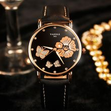 YAZOLE - Embellished Floral Strap Watch