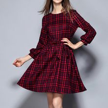 Merald - Long-Sleeve Plaid Dress