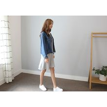 Hello sweety - Collarless Denim Jacket