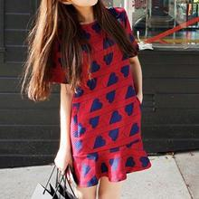 Dowisi - Short-Sleeved Heart Print Dress