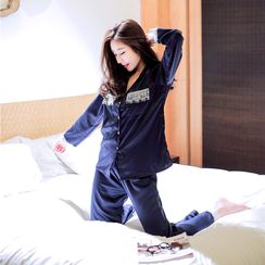 Snorie - Pajama Set: Lace Trim Satin Shirt + Pants