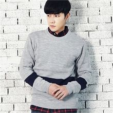 MITOSHOP - Crew-Neck Contrast-Trim Knit Top