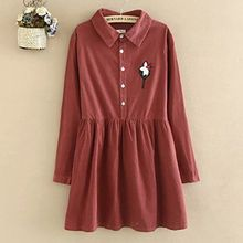Angel Love - Flower Applique Long Sleeve Shirt Dress