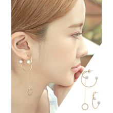 Miss21 Korea - Faux-Pearl Asymmetric Multi-Hoop Earrings