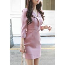 MyFiona - Open-Placket Piped Mini Sheath Dress with Belt