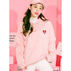 icecream12 - Heart Embroidered Hood Pullover