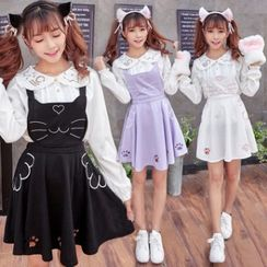 Cosgirl - Cat Embroidered Pinafore Dress