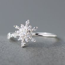A'ROCH - 925 Sterling Silver Rhinestone Snow Flake Ring