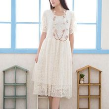 Blue Hat - Short-Sleeve Lace Dress