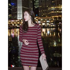 GUMZZI - Patterned Tweed Bodycon Dress
