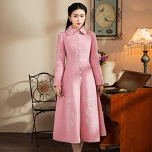 GU ZHI - Furry-Trim Embroidery Coatdress