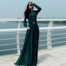 Saranghae - Mandarin Collar Long-Sleeve Maxi Dress