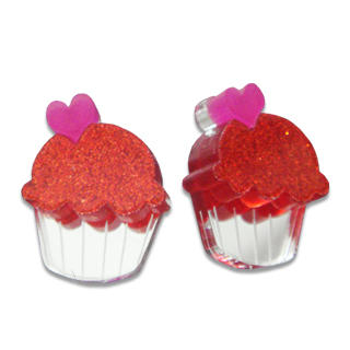 Sweet & Co. - Sweet Glitter Red Mirror Cupcake Stud Earrings